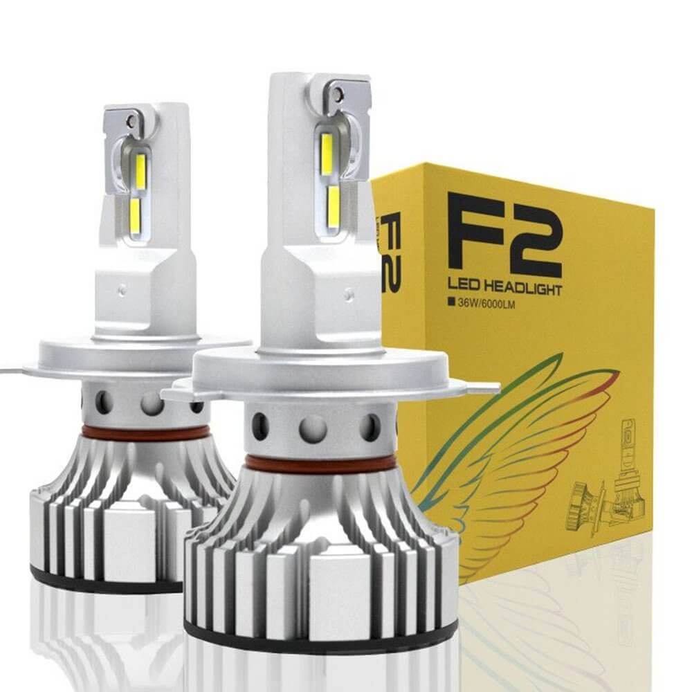 F2 Led lights Bulb 9000 Lumens Dual High and Low Beam H4 Socket